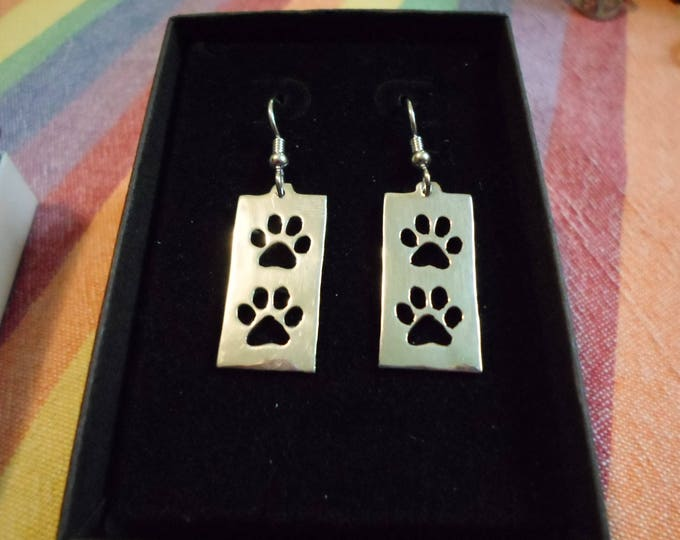 rectangle dog paw earrings