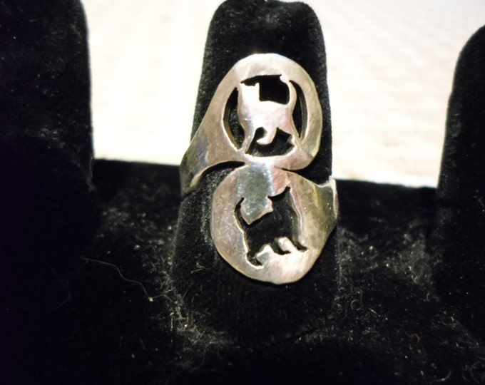 cat reflection spoon style ring