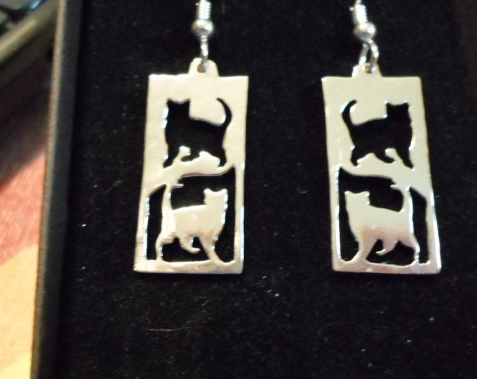 rectangle reflection cat earrings