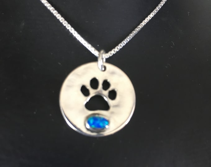dog paw necklace /blue opal w/sterling silver chain