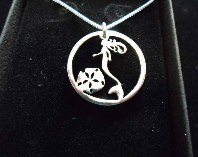 mermaid quarter size w/sterling silver chain