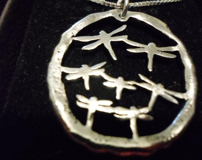 dragonfly explosion necklace w/sterling silver chain