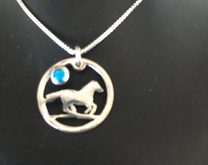 Horse necklace w/blue opal dime size w/sterling silver chain