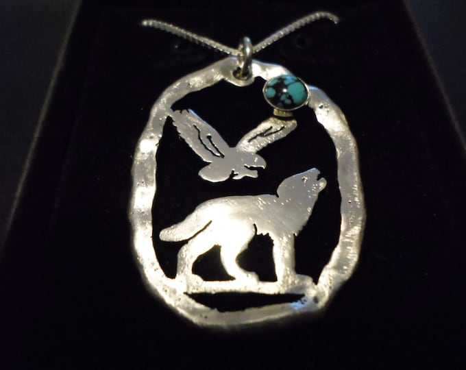 "Large 39mm- 29mm melted Wolf and Eagle necklace w/6mm turquoise  w/20"" sterling silver chain"