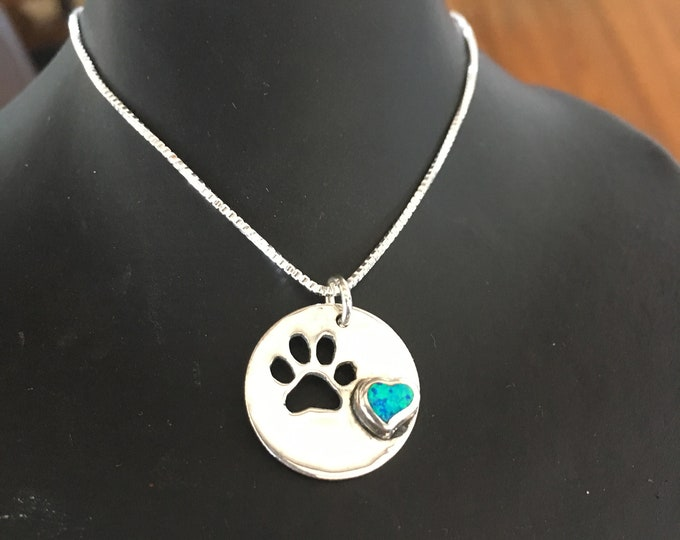 Dog paw w/blue opal heart w/sterling silver chain hand pierced original by Mountain man