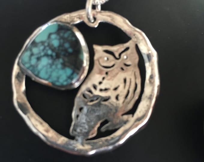 Large melted owl w/turquoise pendant