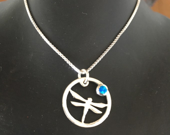 Dragonfly necklace dime size w/blue opal w/sterling silver chain