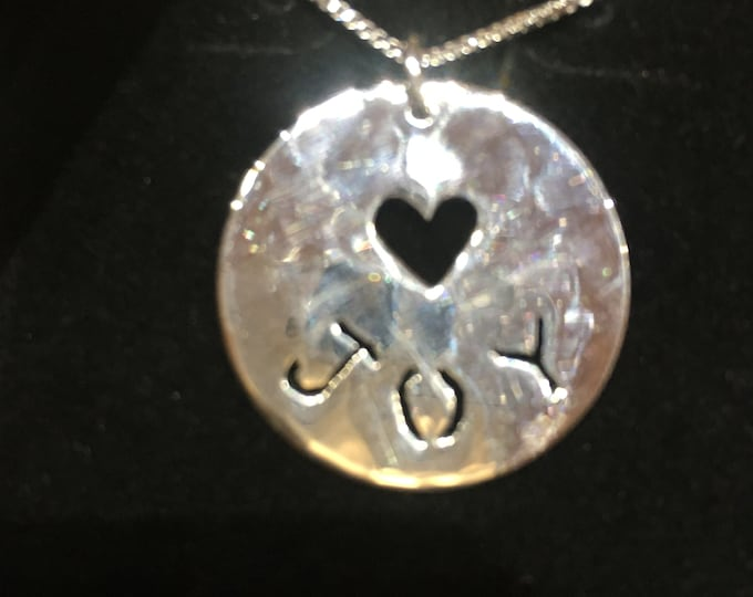 Name necklace quarter size w/sterling silver chain