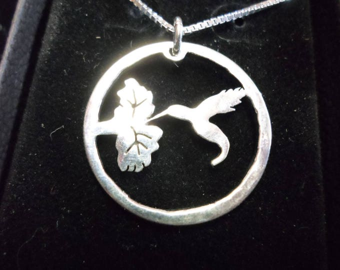 Humming bird necklace dime size w/ sterling silver chain