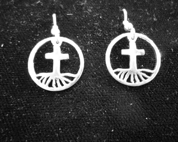Rooted in the Cross Dime size earrings