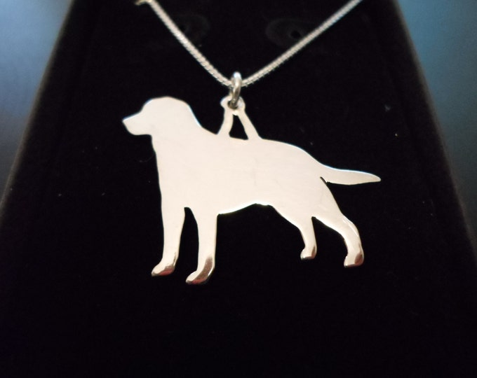 any breed dog necklace  w/sterling silver chain (labrador retriever)