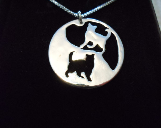 Cat reflection necklace quarter size w/stering silver chain