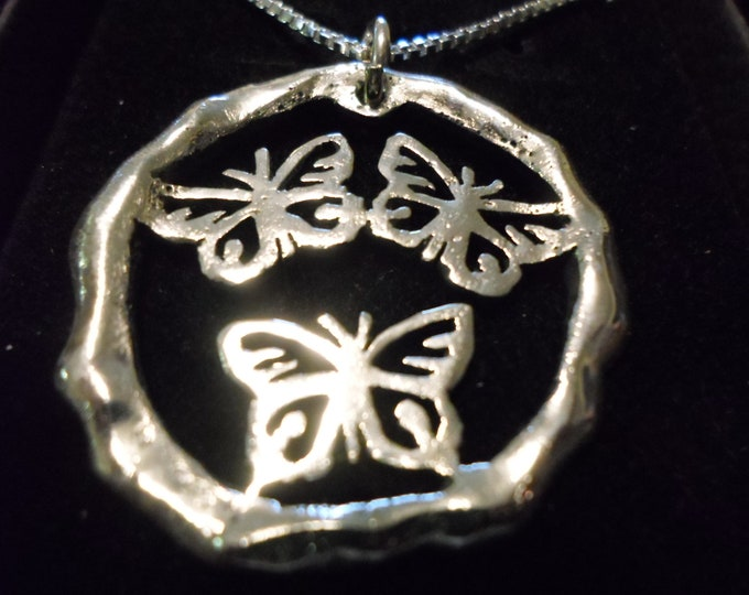 Large Melted 3 butterfly necklace w/sterling silver chain