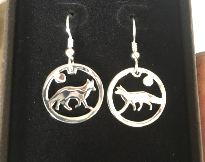 Fox earrings dime size