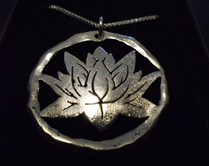 "Large 34mm- 34mm melted Lotus w/20"" sterling silver chain"