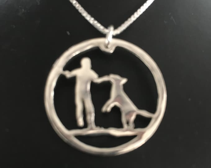 Custom made boy and dog necklace w/sterling silver chain or key ring made from your pic or as is