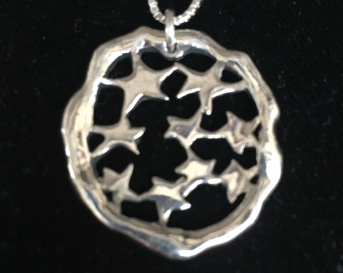 star explosion necklace large w/sterling silver chain  32mm x 36mm