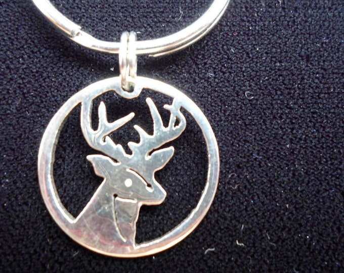 Buck Head key ring quarter size