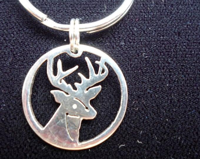 Buck Head key ring quarter size