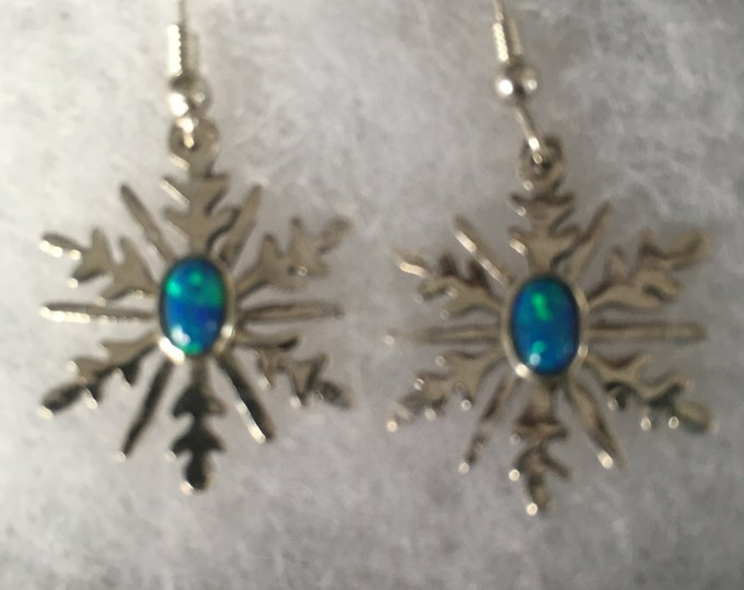 Snowflake earrings quarter size w/6 mm x 4 mm created blue opal