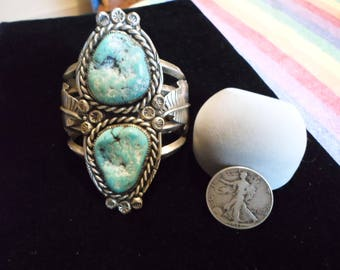 native american turquoise bracelet signed vintage