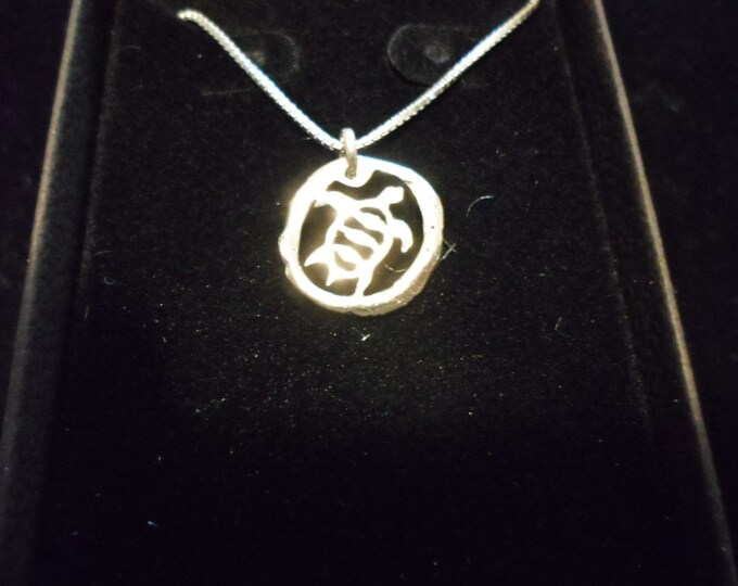 melted mini sea turtle necklace w/sterling silver chain