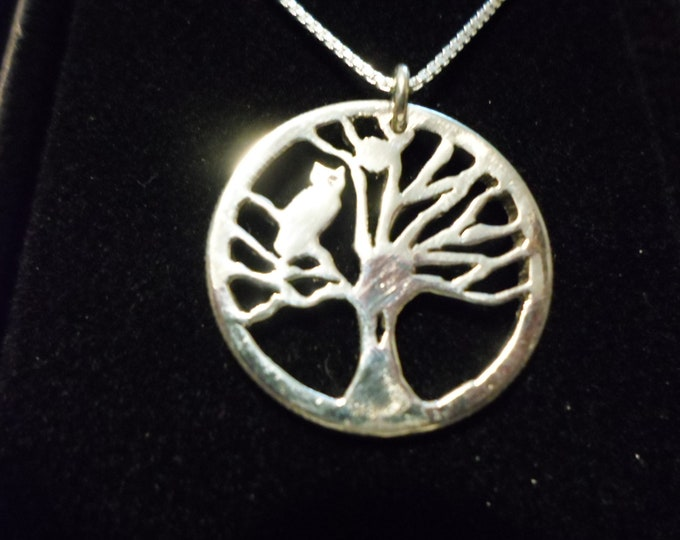 tree of life w/owl and w/sterling silver chain quarter size