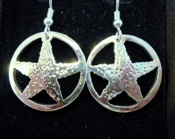 Starfish earrings quarter size w/sterling silver ear wires