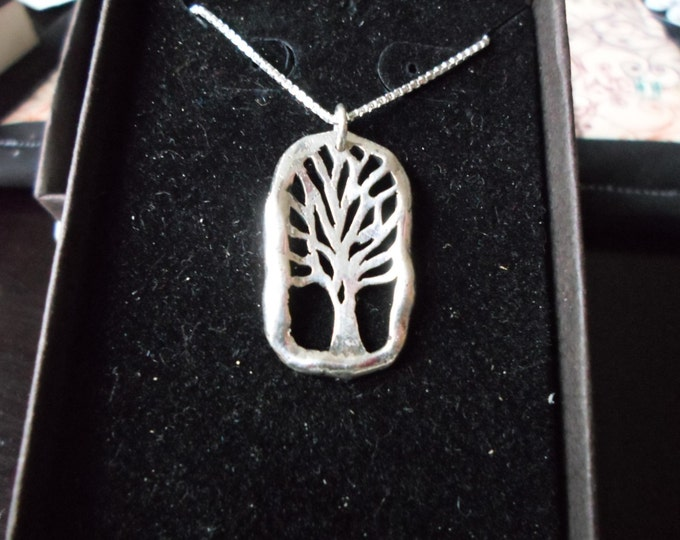 Melted rectangle tree of life w/ sterling silver chain