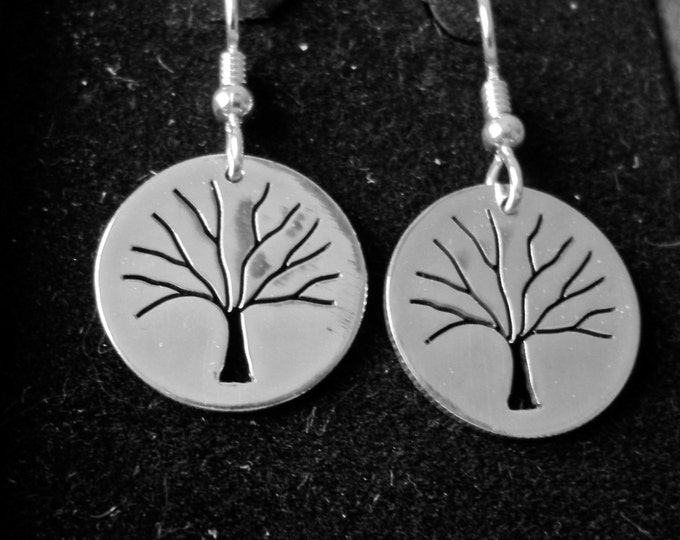 Tree of Life earrings quarter size solid back