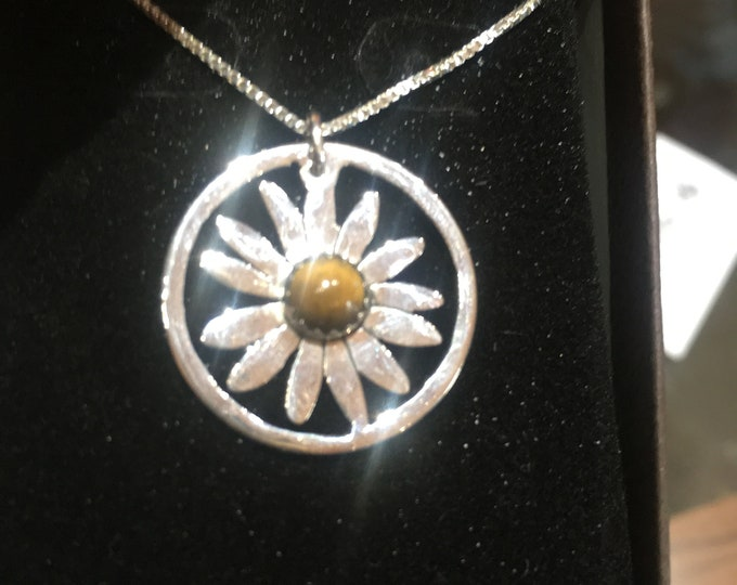 Brown eye susan necklace w/sterling silver chain