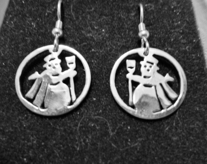 Snowman Earrings Dime Size w/ sterling earwires