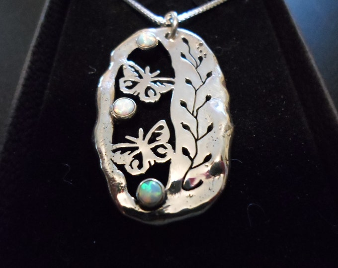 "Butterfly necklace large 39x24mm with 2  4mm created opal stone w/ 20"" sterling silver chain"