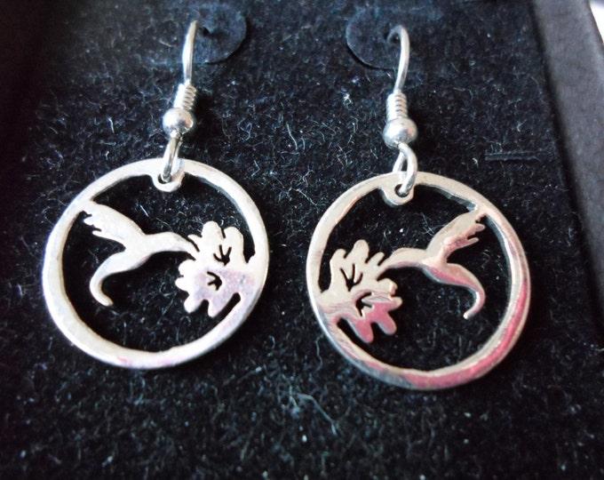 Hummingbird earrings dime size w/sterling silver earwires