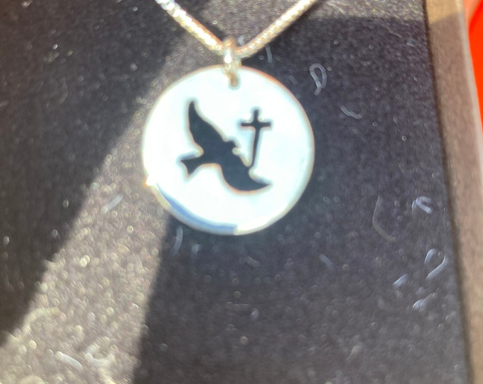 Holy Spirt and cross w/sterling silver chain