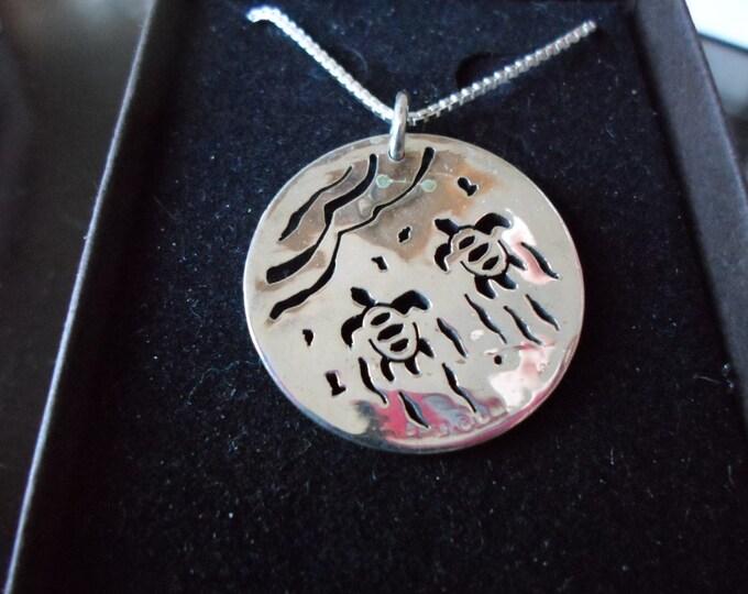 Sea Turtle necklace half dollar size w/sterling silver chain
