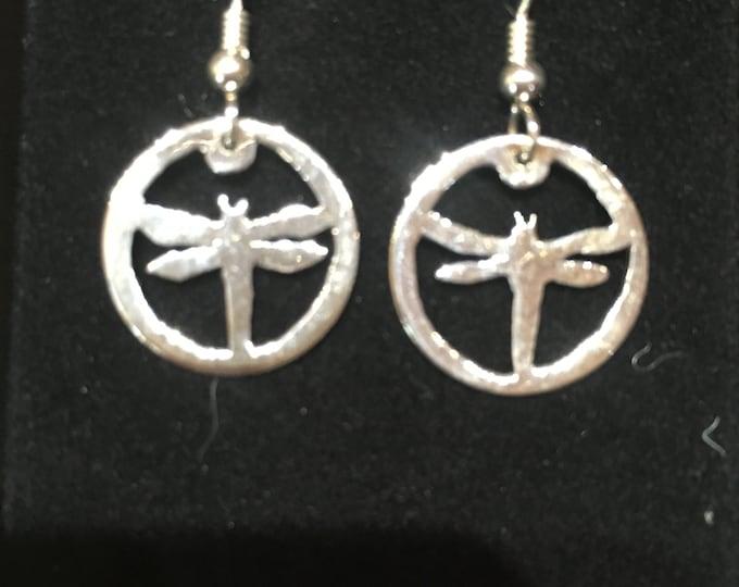 Dragonfly earrings dime size