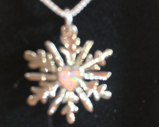 Opal heart snowflake w/sterling silver chain quarter size