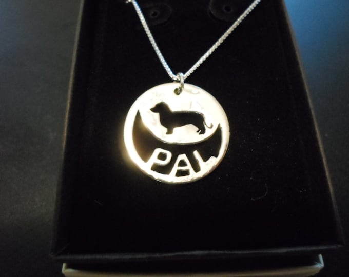 any breed any name with sterling silver chain quarter size (dachshund)