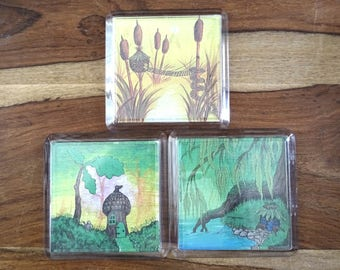 Set of Fairy House Print Coasters Magnets Willow Oak Bullrush