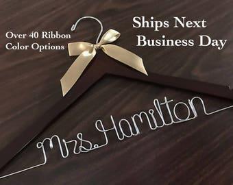 Ships Next Day, Wedding hanger, Priority mail option, wedding photos, bridal, Wedding gift, Bridesmaid gift, name hanger, bridal hanger,