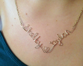 2 name necklace, Personalized necklace, wire wrapped necklace, double name necklace, personalized, name jewelry, necklace with 2 names