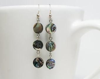 Paua Shell Tri-round earrings, abalone earrings, round abalone, round earrings, paua earrings,