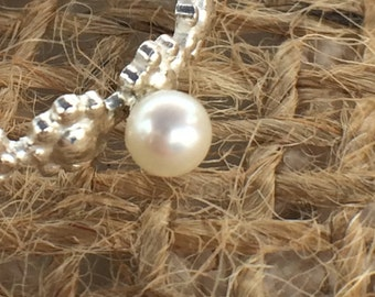 Silver Flower Ring with Pearl