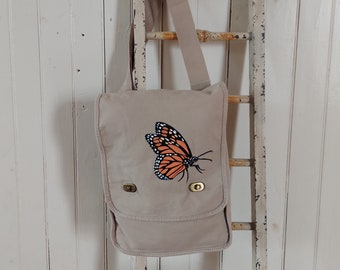 Screen Printed and Hand-Painted, One-of-a-Kind, Monarch, Canvas Field Bag