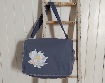 Hand-Painted, One-of-a-Kind, Waterlily, Canvas Messenger Bag