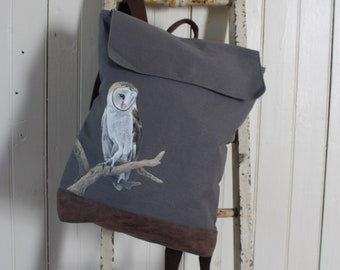 Hand-Painted, One-of-a-Kind, Barn Owl, Rucksack