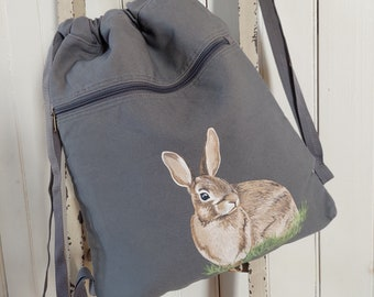 Hand Painted, One-of-a-Kind, Cottontail, Canvas Drawstring Bag