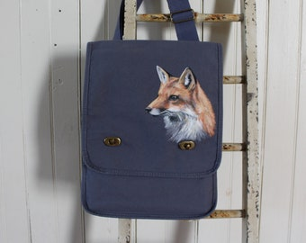 Hand-Painted, One-of-a-Kind, Fox, Canvas Field Bag