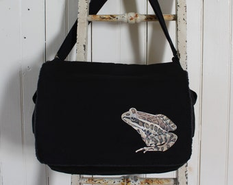 Hand-Painted, One-of-a-Kind, Leopard Frog, Canvas Messenger Bag